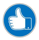 Schild Button mit Like Daumen, Daumen hoch, Feedback Daumen, Like Daumen, Vektor Illustration isoliert auf weißem Hintergrund - 214048946