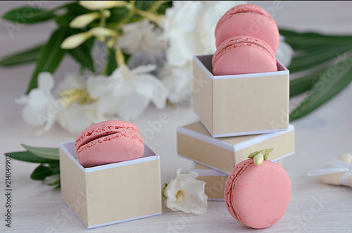 Canvas Macarons Pink rasberry macarons in the gift box on wooden background. French dessert macaroons and white flowers for best present or surprise.