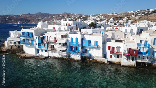 Foto Murales Aerial view of iconic colourful little Venice in old town of Mykonos island at sunset, Cyclades, Aegean, Greece