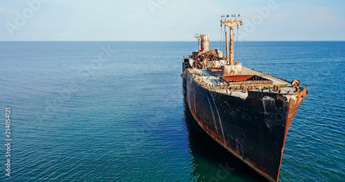 Aluminium Schip Aerial Drone View Of Old Shipwreck Ghost Ship Vessel