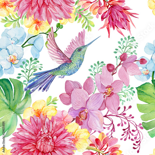 Seamless pattern of bird Hummingbird and tropical flowers. illustration by watercolor © mitrushova