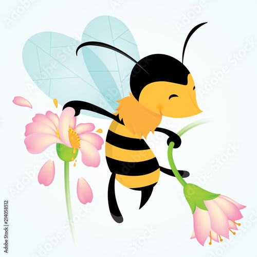 Cartoon Bee Vector Illustration - 214058512