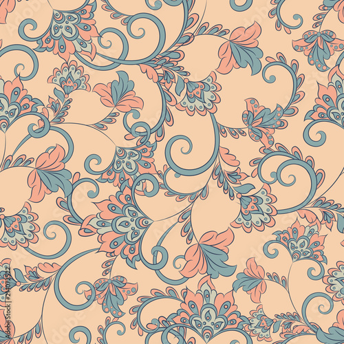 Vector flower seamless pattern. Cute floral background
