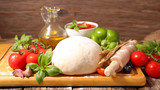 raw pizza dough and ingredient - 214074756