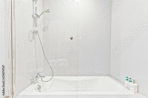 white clean bathroom in modern condominium
