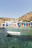 Boats Moored in the Village Harbour of Klima, Milos island, Greece - 214075551