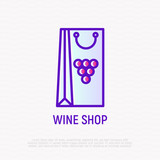 Wine packaging with grapes thin line icon. Modern vector illustration. - 214076922
