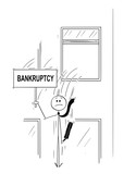Cartoon stick man drawing conceptual illustration of businessman or banker jumping out of the window and holding sign with bankruptcy text. Business concept of financial crisis . - 214077578