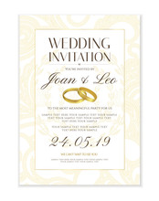 Wedding Invitation Design Template Save The Date Card Classic Golden   Gold Wedding Rings Useful For Any Invitations  Marriage Anniversary Engagement Part Sticker