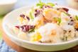 Sweet millet salad with orange filet radicchio and mint with yogurt based sauce