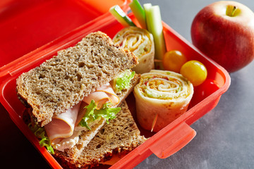 R plastic kids lunch box with healthy food