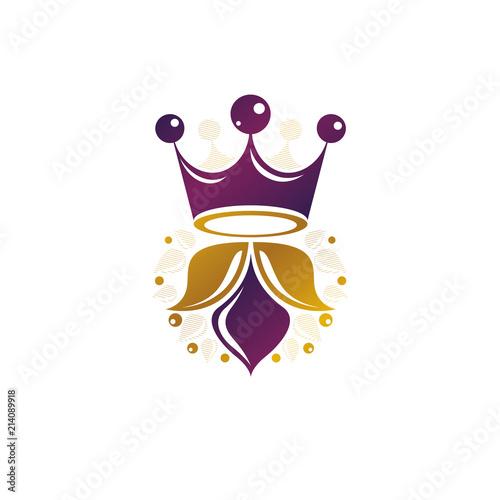 Royal Crown vector illustration. Heraldic design element. Retro style logo. Antique logotype isolated on white background.