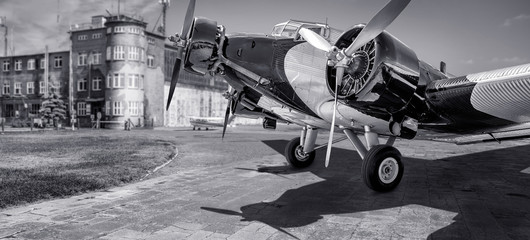 historical aircraft on an airport