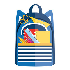 Backpack with school supplies. Back to school. Vector icon II.