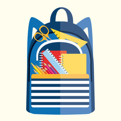 Backpack with school supplies. Back to school. Vector illustration II.