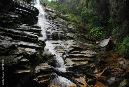 Waterfall with canyon in stones in Brazil - 214102188