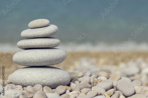 Plexiglas Zen Grey pebbles: stone cairn tower, poise stones, zen sculpture.