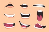 Cartoon mouth expressions set. Vector illustration. - 214104119