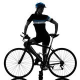 one caucasian cyclist woman cycling riding bicycle standing smiling isolated on white background - 214106738