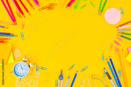 back to school styed frame s with muilticolored school supplies on yellow, retro toned