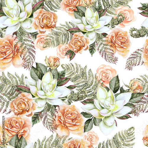 A bright watercolor pattern with flowers of a rose and  succulent. With leaves and fern.  - 214112329