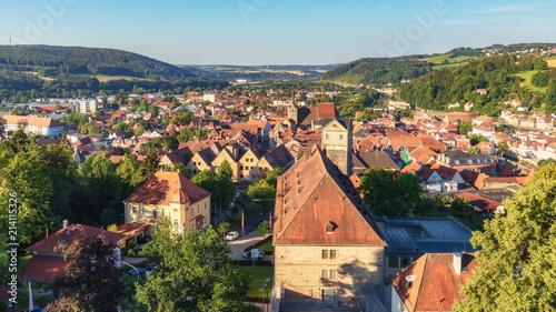 Medieval German Bavarian Town of Kronach in Summer. Lovely historical houses - 214115326
