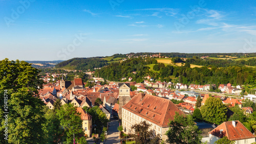 Medieval German Bavarian Town of Kronach in Summer. Lovely historical houses - 214115714