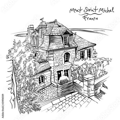 Fototapeta Vector black and white drawing, a traditional Breton house inside the walls of Mont Saint-Michel, Brittany, France.