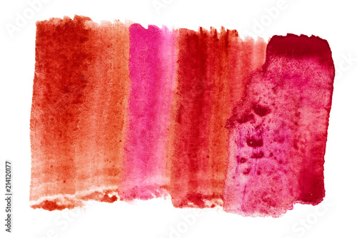 watercolor red stain on white background. background for design element.