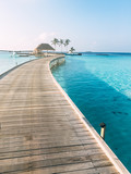 Maldives island luxury resort wooden pier - 214123154