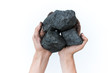 Coal mining: coal miner in hands. The idea of the picture is to extract a mineral or energy source that protects the environment. Industrial coals. Volcanic rocks. Isolated over white background