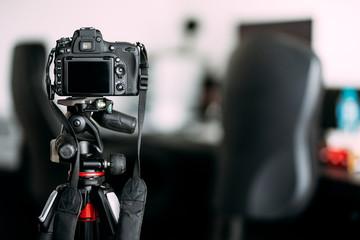 Professional camera taking photos of interior design