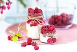 breakfasts, desserts. Yogurt with raspberry syrup and raspberry berries