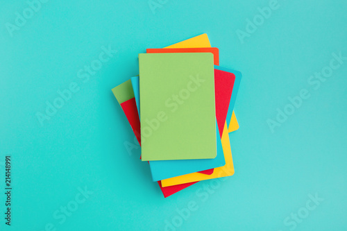 Stack of school notebooks. Back to school. Mock up. © mallmo