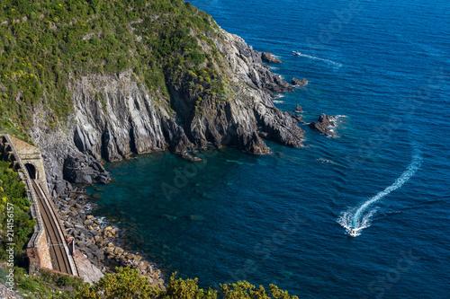 Foto Murales Sea and rocks. Cinque Terre National Park in Liguria, Italy. Mediterranean landscape