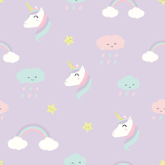 Cute adorable pastel baby unicorn faces and cloud rainbows cartoon seamless pattern background wallpaper © ciaoaleandro