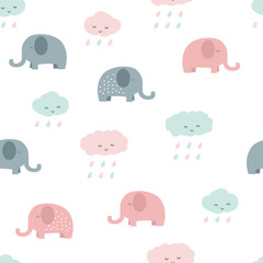 Cute adorable pastel baby elephant and cloud cartoon seamless pattern background wallpaper © ciaoaleandro