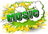 Music - Comic book style word on abstract background. - 214171191