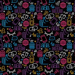 Friendship day seamless pattern friend party icons © cienpiesnf