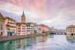 Leinwandbild Motiv Cityscape of downtown Zurich in Switzerland