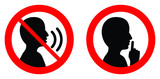 Keep quiet / silent please sign. Crossed person talking / Shhh icon in circle. - 214176304