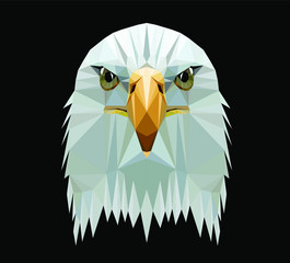 Low poly triangular  bald eagle head on dark background, vector illustration EPS 10 isolated.  Polygonal style trendy modern logo design. Suitable for printing on a t-shirt. © Oomi