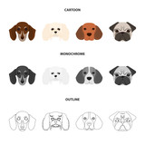 Muzzle of different breeds of dogs.Dog breed of dachshund, lapdog, beagle, pug set collection icons in cartoon,outline,monochrome style vector symbol stock illustration web. - 214179152
