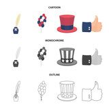 Balloons, inkwell with a pen, Uncle Sam hat. The patriot day set collection icons in cartoon,outline,monochrome style vector symbol stock illustration web. - 214179503