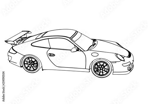 sketch of a sports car vector - 214190504