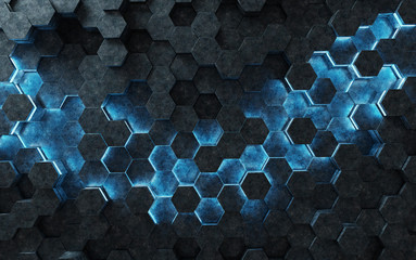 Black and blue hexagons background pattern 3D rendering © sdecoret