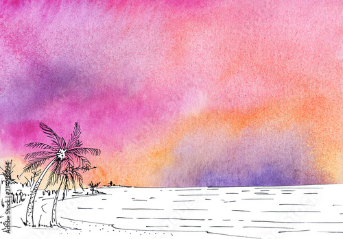 Plexiglas Lichtroze Watercolor painted abstract background with black ink line sketch.