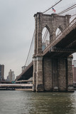 View of the Brooklyn Bridge, New York, USA, from Hudson river. - 214210396