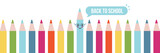Back to school vector horizontal illustration, banner, header with cute colored pencils. - 214210585