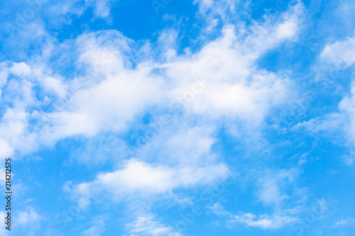 white clouds in blue evening sky in summe - 214212575